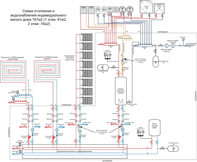 Схема двухтрубного отопления частном доме фото 995