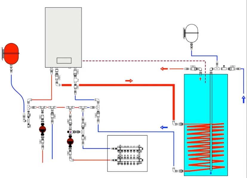 схема подключения бойлера к одноконтурному котлу