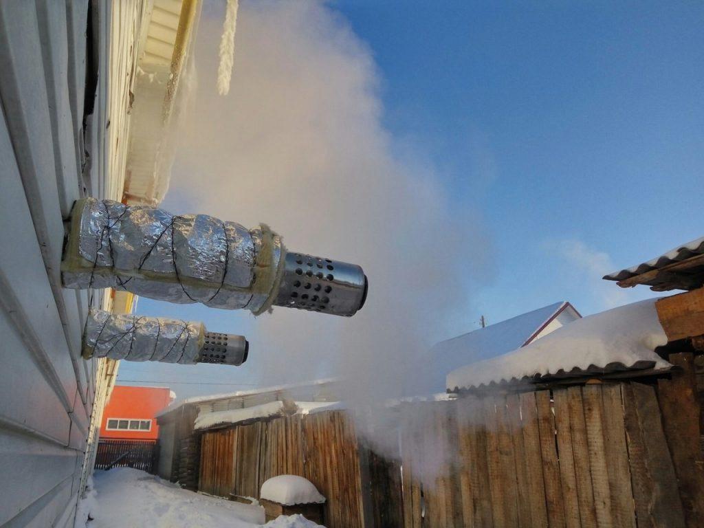 замерз коаксиальный дымоход