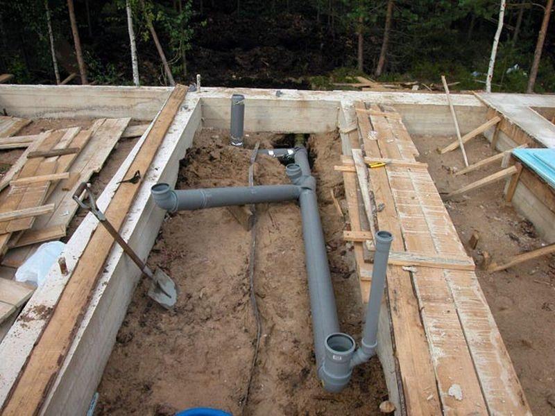 монтаж канализации в частом доме укладка труб в земле