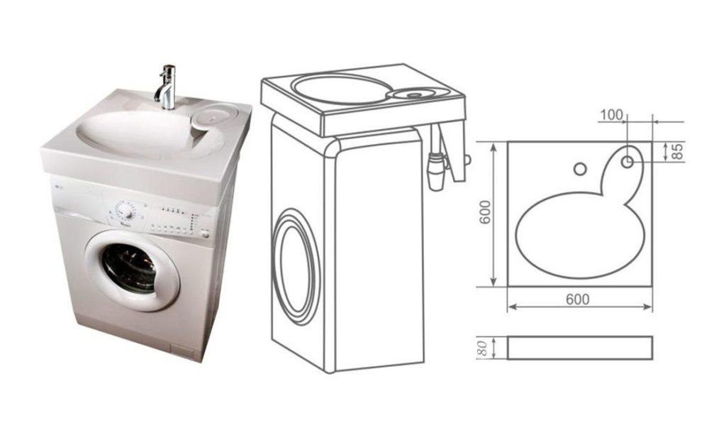 схема монтажа раковины над стиральной машинкой