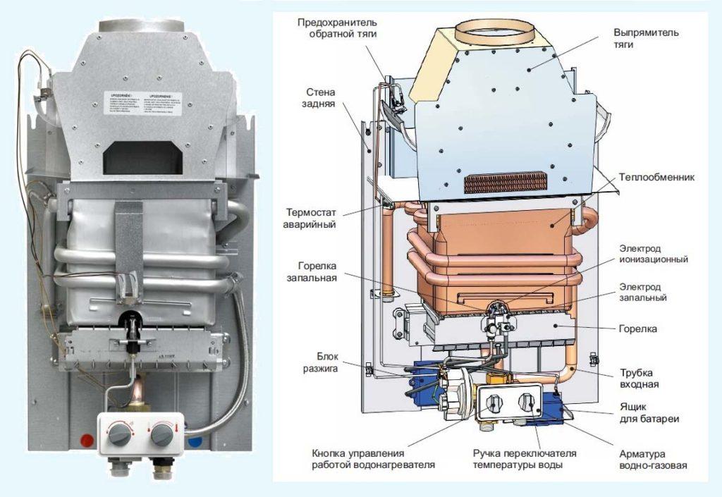 устройство газовой колонки схема