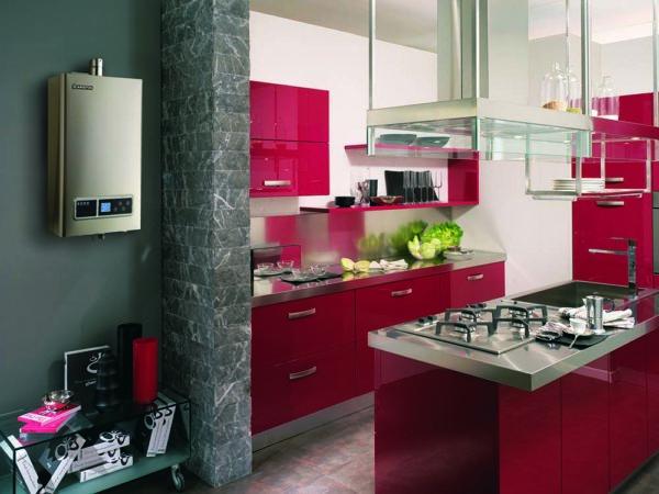 газовая колонка на кухне в интерьере