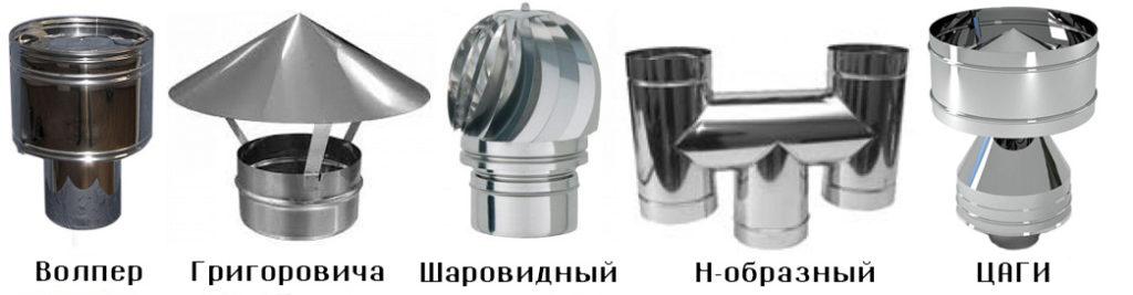 виды дефлекторов тяги дымохода